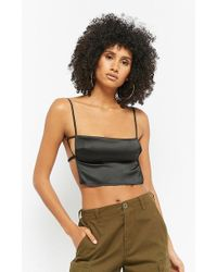 Forever 21 - Satin Crop Cami - Lyst