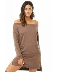 Forever 21 - Off-the-shoulder Sweatshirt Tunic - Lyst