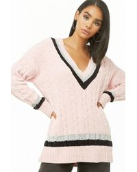 Forever 21 - Plunging Striped Chenille Jumper Sweater - Lyst