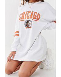 Missguided Chicago Sweatshirt Dress At , White/orange