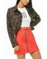 Forever 21 - Women's Faux Suede Zip-up Mini Skirt - Lyst