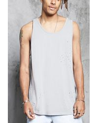 Forever 21 - Distressed Scoop Neck Tank - Lyst