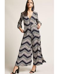 f3c86597be98 Forever 21 - Chevron Multicolor Woven Palazzo Jumpsuit - Lyst