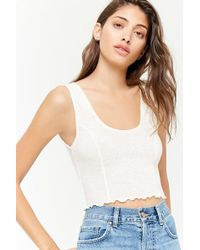 Forever 21 - Heathered Ribbed Knit Crop Tank Top - Lyst