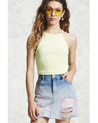 30367c584a Lyst - Forever 21 Button-front Denim Skirt in Blue