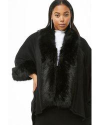 09217a16d Forever 21 Longline Faux Fur Vest in Natural - Lyst