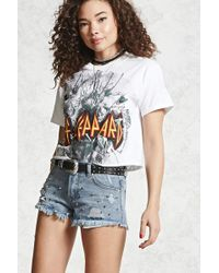 Forever 21 - Studded Low-rise Denim Cutoffs - Lyst