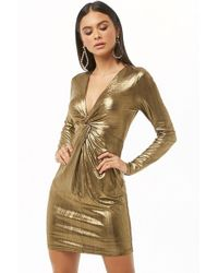 Forever 21 - Twist-front Metallic Homecoming Dress - Lyst