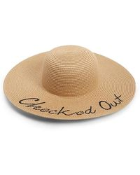 Forever 21 - Checked Out Embroidered Wide-brim Hat - Lyst