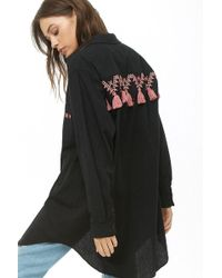 Forever 21 - Embroidered Longline Jacket - Lyst