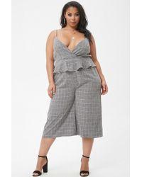 c0e8765f1fd1 Forever 21 - Women s Plus Size Marled Slub Woven Grid Peplum Culotte  Jumpsuit - Lyst