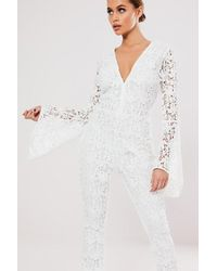 Missguided - Crochet Lace Jumpsuit At , Ivory - Lyst