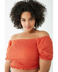 7139b05eb98ce Forever 21 Women s Plus Size Off-the-shoulder Lettuce-edge Crop Top ...