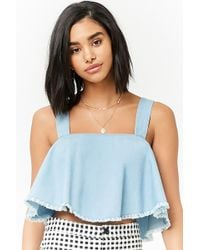 Forever 21 - Frayed Chambray Top - Lyst