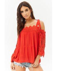 Forever 21 - Crochet-trim Open-shoulder Top - Lyst