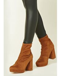 Forever 21 - Faux Suede Sock Boots - Lyst