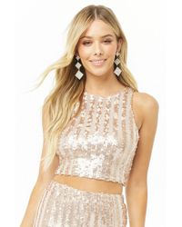 2b27f7d0b65b7a Lyst - Forever 21 Sheer Lace Open-back Top in Natural