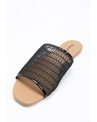Forever 21 - Qupid Faux Leather Slide Sandals - Lyst