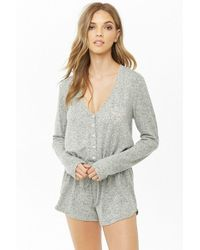 73515027365 Forever 21 - Need More Sleep Graphic Lounge Romper - Lyst