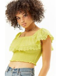 Forever 21 - Smocked Flounce Crop Top - Lyst