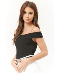 ce686a7f51233d Lyst - Forever 21 Off-the-shoulder Layered Top in Black