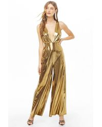 Forever 21 - Plunging Metallic Jumpsuit , Gold - Lyst