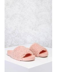 Forever 21 - Faux Shearling Slide Sandals - Lyst