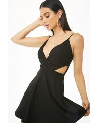 Forever 21 - Faux Suede Shadow Stripe Cutout Dress - Lyst