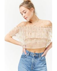 ef28f0f938e3d8 Forever 21 - Women's Sheer Off-the-shoulder Star Print Top - Lyst