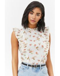 Forever 21 - Women's Floral Accordion Pleated Top - Lyst