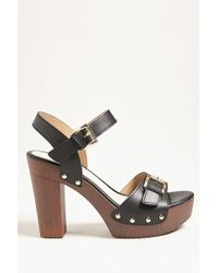 Forever 21 - Buckle Faux Leather Platform Heels - Lyst
