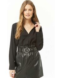 Forever 21 - Surplice Button Bodysuit - Lyst