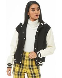 Forever 21 - Hooded Faux Leather-sleeve Varsity Jacket - Lyst