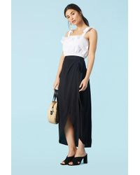 115354a23d6d51 Lyst - Forever 21 Chiffon Lace High-Low Skirt in Black