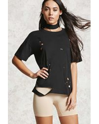 Forever 21 - Distressed Round Neck Tee - Lyst