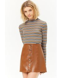 Forever 21 - Faux Leather Button-front Mini Skirt - Lyst