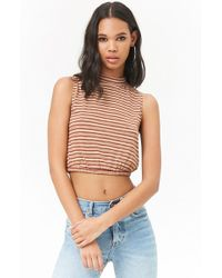 Forever 21 - Striped Mock Neck Crop Top - Lyst