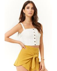 Forever 21 - Ribbed Tie-front Shorts - Lyst