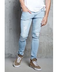 ea93cc26b7f Forever 21 Faded Distressed Wash - Straight-leg Jeans in Blue for ...