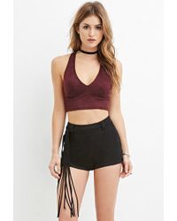 Forever 21 - Women's Fringed Faux Suede Shorts - Lyst