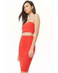 ce58a0ad26 Forever 21 - Ribbed Brushed Knit Cropped Tube Top & Skirt Set - Lyst