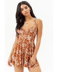 Forever 21 - Floral Strappy Romper - Lyst