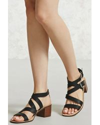 Forever 21 | Strappy Faux Leather Heels | Lyst