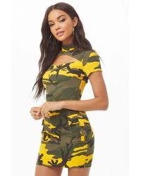 b09292f41d Forever 21 - Women s Cutout Camo Print Bodycon Dress - Lyst