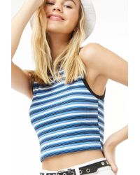5983d0286e Forever 21 - Women s Striped Cropped Tank Top - Lyst