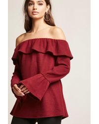 13cdd0399f7faa Forever 21 Off-the-shoulder Flounce Top in Orange - Lyst