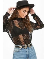 Forever 21 - Smocked Sheer Floral Lace Top - Lyst
