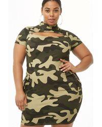 41d2a6cc65 Forever 21 - Women s Plus Size Camo Cutout Dress - Lyst