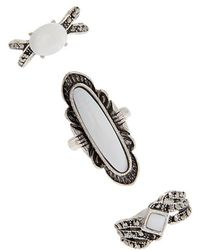 Forever 21 - Etched Stone Ring Set - Lyst