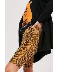 Missguided Tiger Print Bike Shorts At , Orange/black